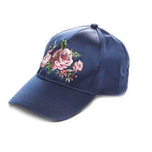 BCBG Blue Satin Roses Embroidered Baseball Hat NWT